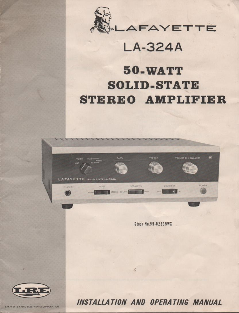 LA-324A 50 Watt Stereo Amplifier Owners  Manual with schematic