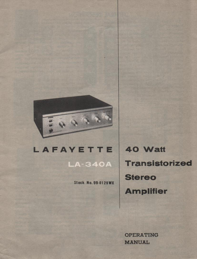 340A Amplifier Owners Service Manual.  Owners manual with schematic