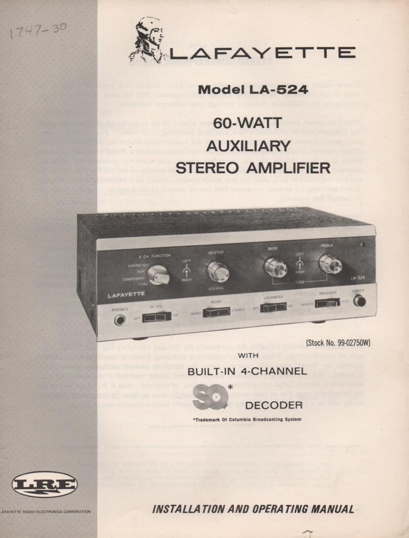 LA-524 Amplifier Owners Manual only.   No schematic..