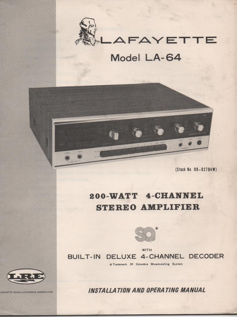 LA-64 4 Channel Amplifier Owners Manual.