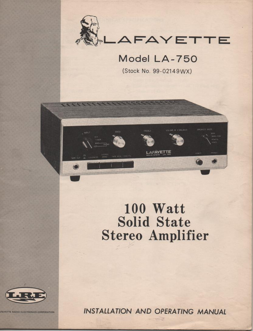 LA-750 100 Watt Stereo Amplifier Owners Service Manual with foldout schematic.  Stock No. 99-02149WX .
