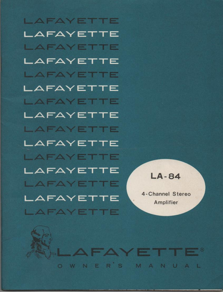 LA-84 4 Channel Amplifier Owners Service Manual. This is an owners manual with a large foldout schematic