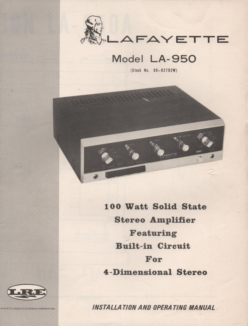 LA-950 Amplifier Owners Service Manual. Owners manual with schematic