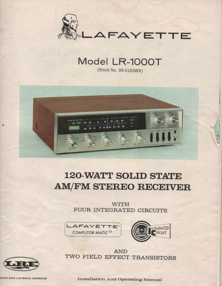 LR-1000t Receiver Owners Service Manual...  Owners manual with schematic..  Stock No. 99-0183WX .