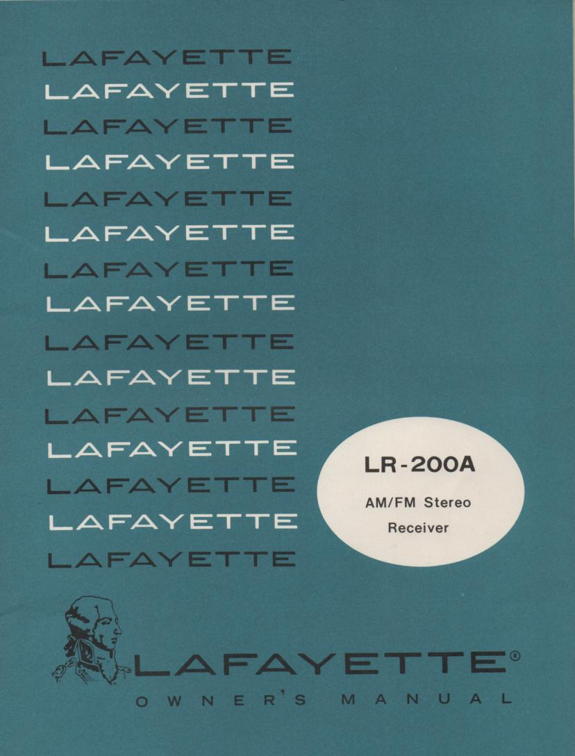 LR-200A Receiver Owners Service Manual. Owners manual with schematic..  Stock No. 99-03105W .