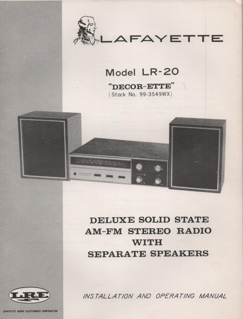 LR-20 Stereo Owners Service Manual.  Owners manual with Large foldout schematic.  Stock No. 99-3549WX .
