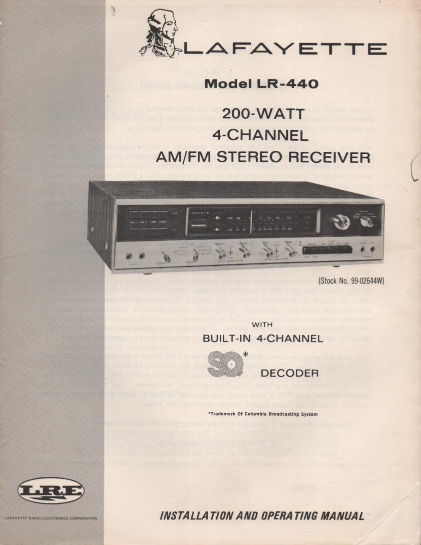 LR-440 Receiver Owners Manual with large foldouts and schematic.  Stock No. 99-02644W .