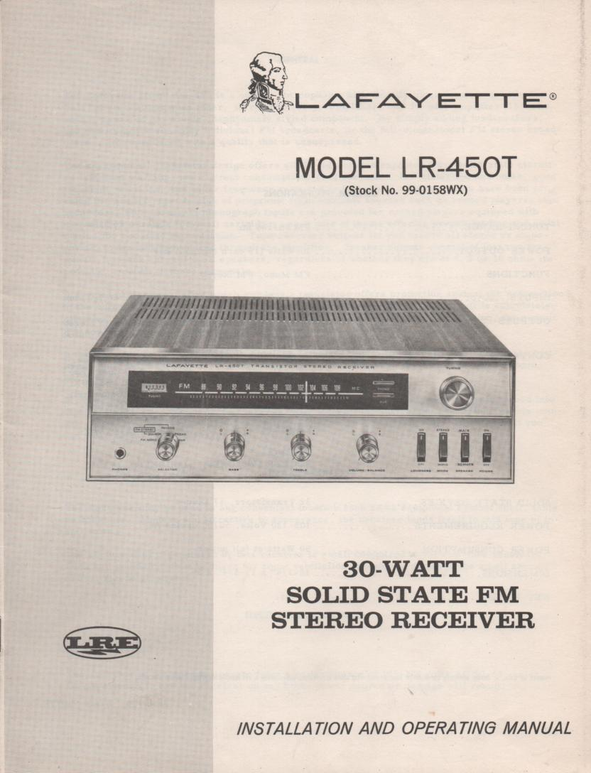 LR-450T Receiver Owners Service Manual.  Owners manual with schematic.   Stock No. 99-0158WX .