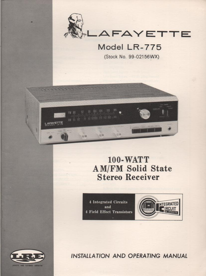 LR-775 Receiver Ownrrs Service Manual.  Owners manual with schematic...