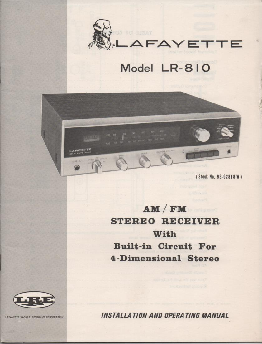LR-810 Receiver Owners Service Manual.  Owners manual with schematic..  Stock No. 99-02818W .