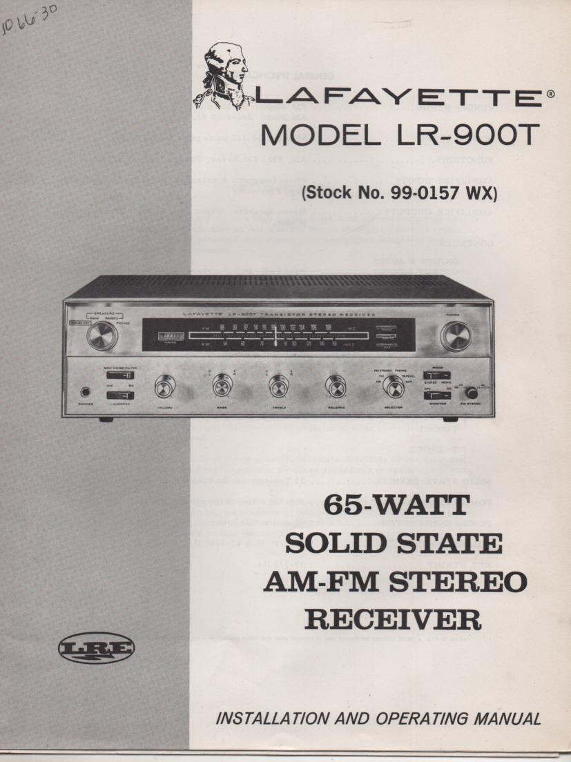 LR-900T Receiver Owners Service Manual.  Owners manual with schematic.  Stuck No. 99-0157WX .