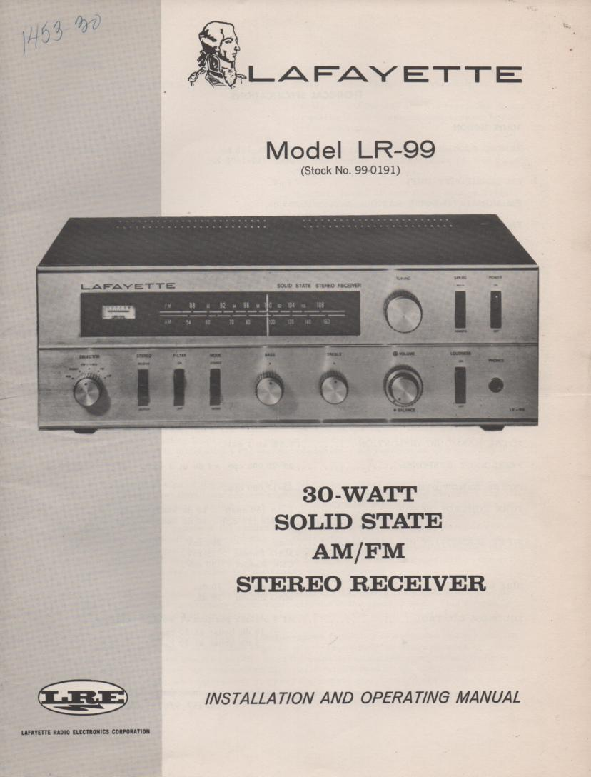 LR-99 Receiver Owners Service Manual. Owners manual with a Large foldout schematic. Stock No. 99-0191 .