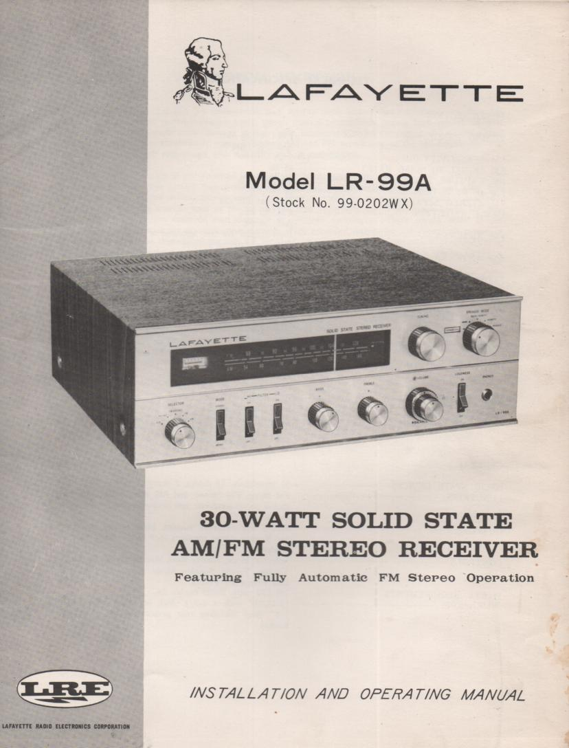 LR-99A Receiver Owners Service Manual. Owners manual with a Large foldout schematic. Stock No. 99-0202WX .