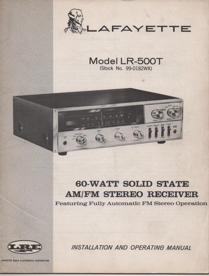 LR-500T 60 Watt Stereo Receiver Owners Service Manual