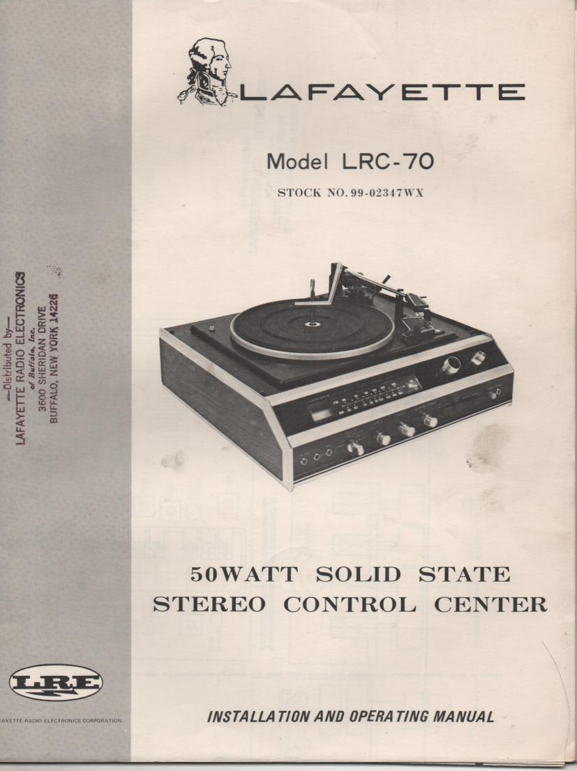 LRC-70 Stereo System Owners Service Manual.   Owners manual with large foldout schematic.. Stock No. 99-02347WX .
