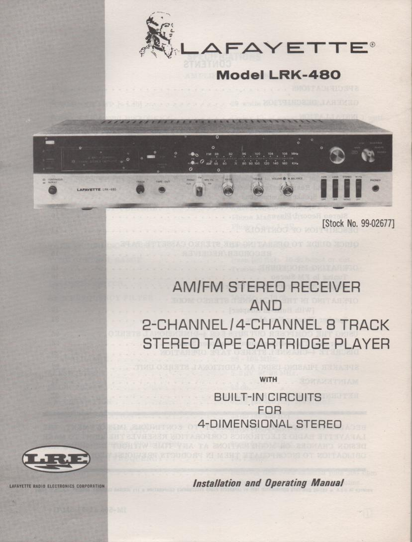 LRK-480 8-Track Receiver Owners Service Manual. Owners manual with large foldout schematic.. Stock No. 99-02677 .