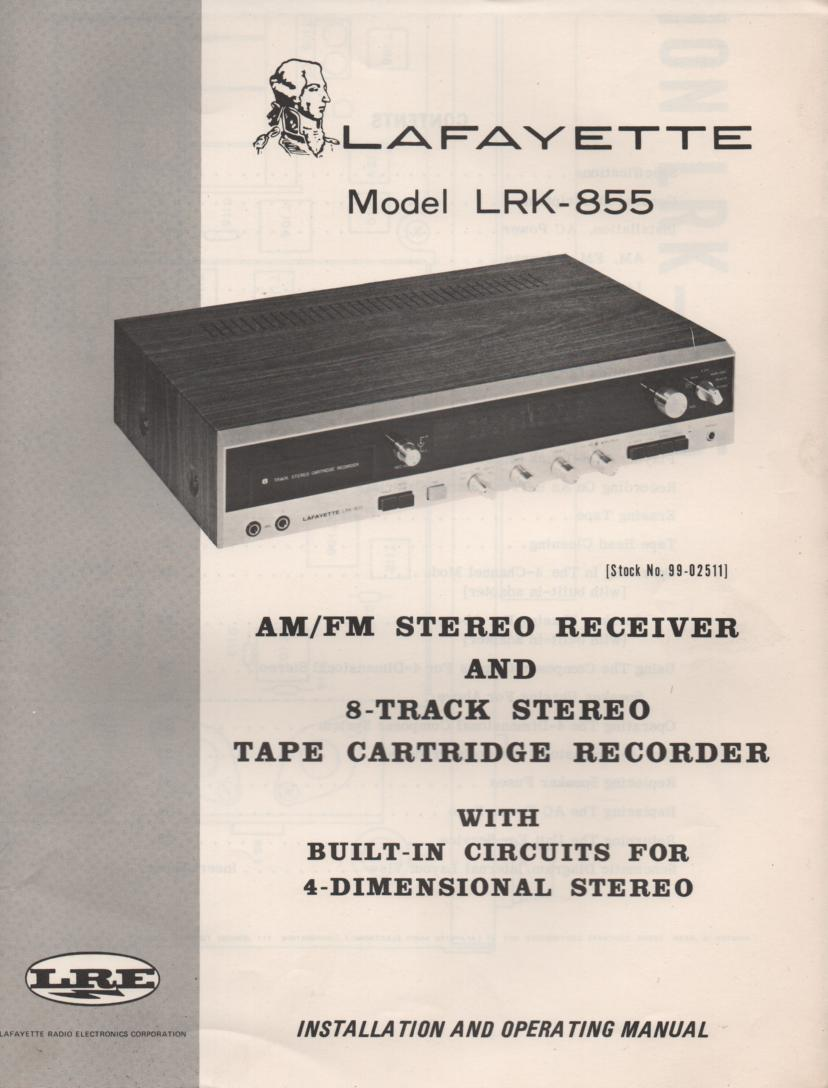 LRK-855 8-Track Receiver Owners Service Manual. Owners manual with large foldout schematic.   Stock No. 99-02511 .