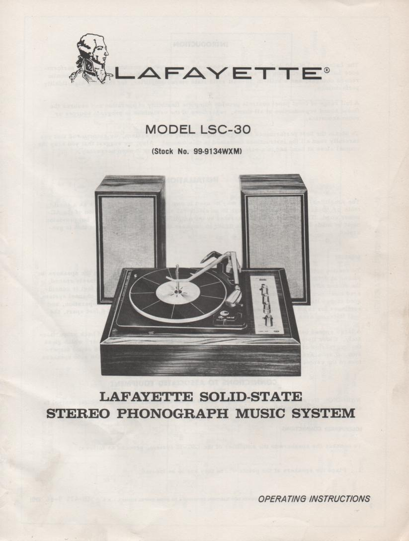 LSC-30 Phonograph System Owners Service Manual.    Owners manual with schematic