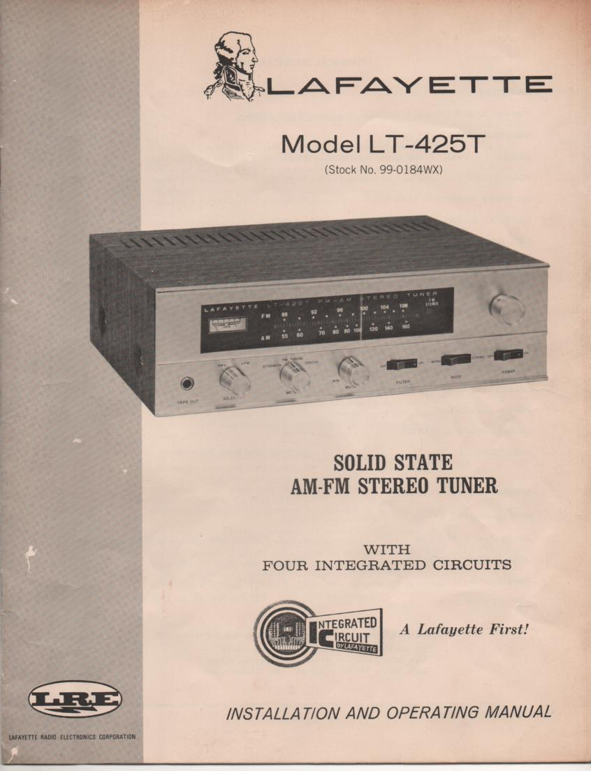 LT-425T Tuner Owners Instruction Manual with Schematic
