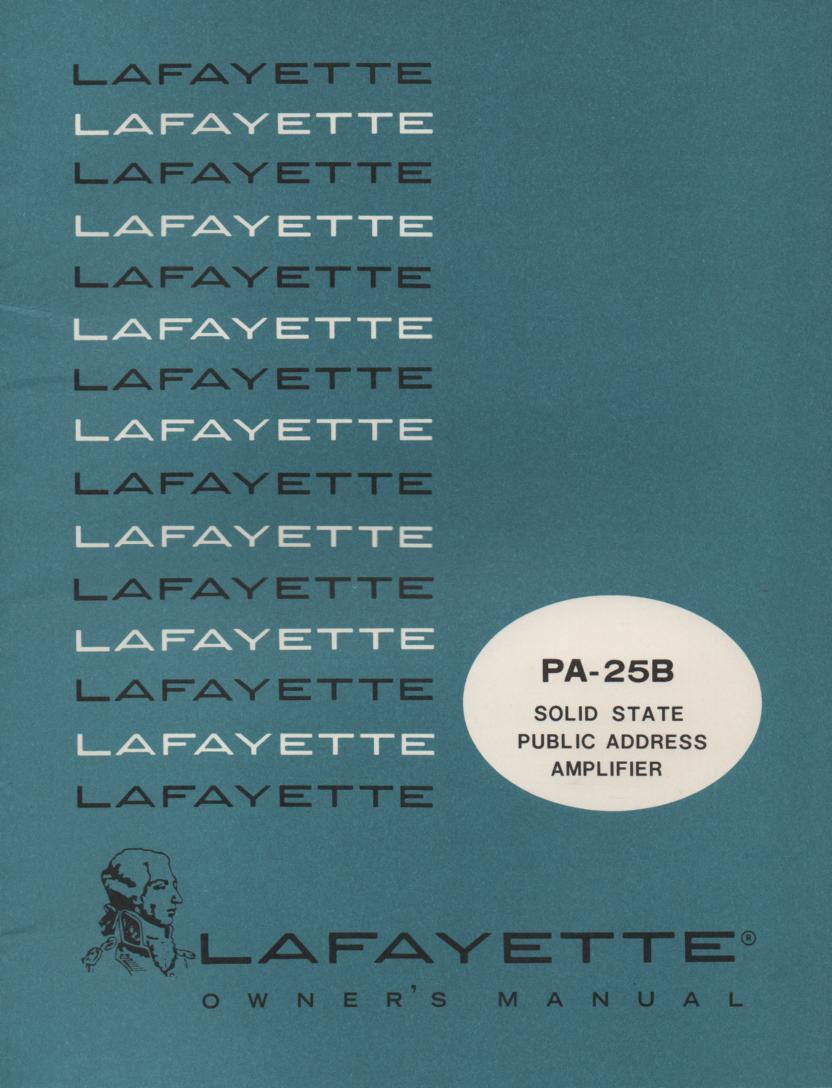 PA-25B PA Amplifier Owners Service Manual. Owners manual with schematic.  Stock No. 99-46542W .