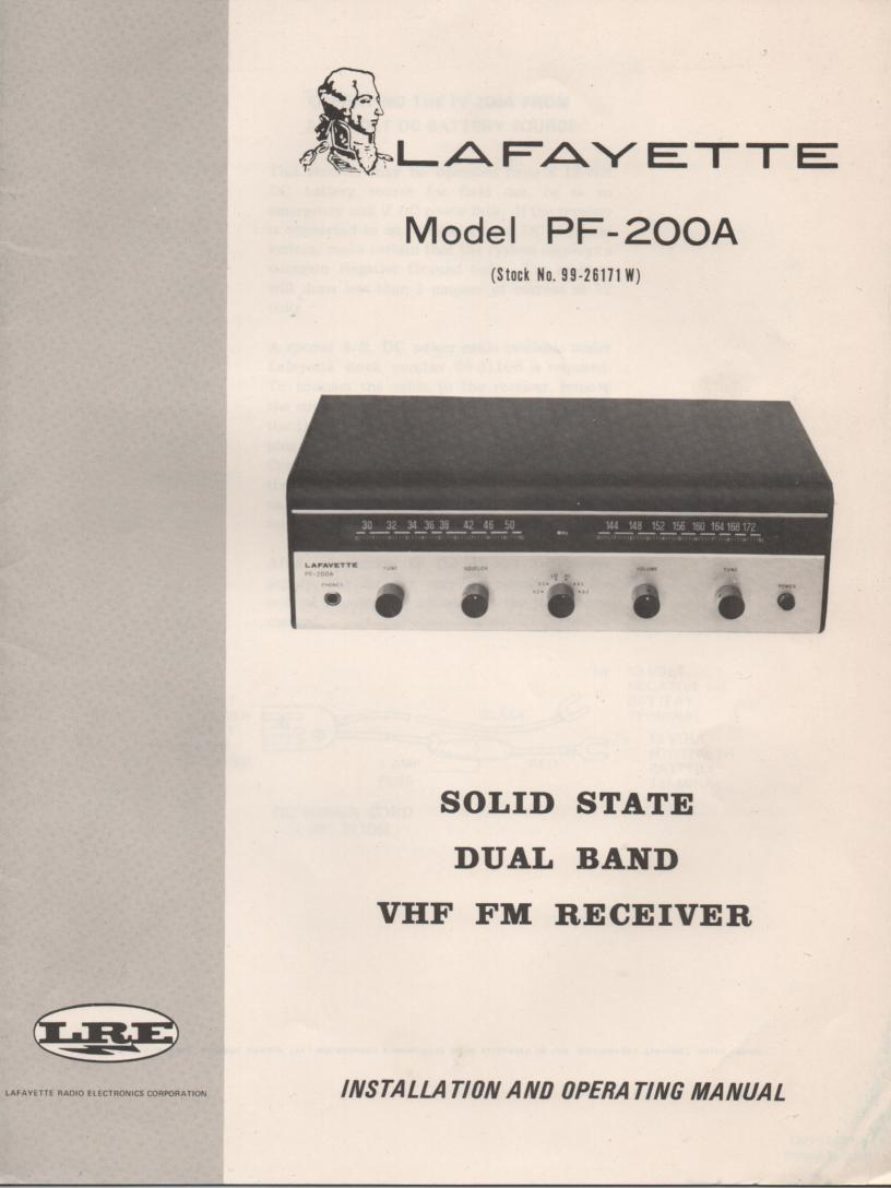 PF-200A Dual Band FM Receiver Owners Service Manual. Owners manual with schematic. Stock No. 99-25983WX .