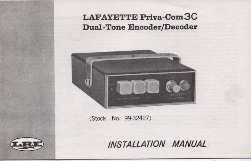 PrivaCom 3C Encoder Decdoer Owners Manual