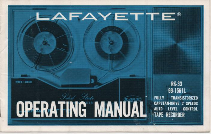 RK-33 Tape Recorder Owners Service Manual. Owners Mnul with schematic.  Stock No. 99-1561L .