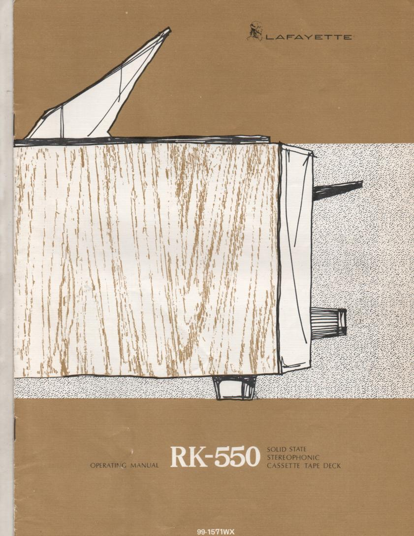 RK-550 Cassette Deck Service Owners Manual. Owners manual with schematic. Stock No. 99-1571WX .