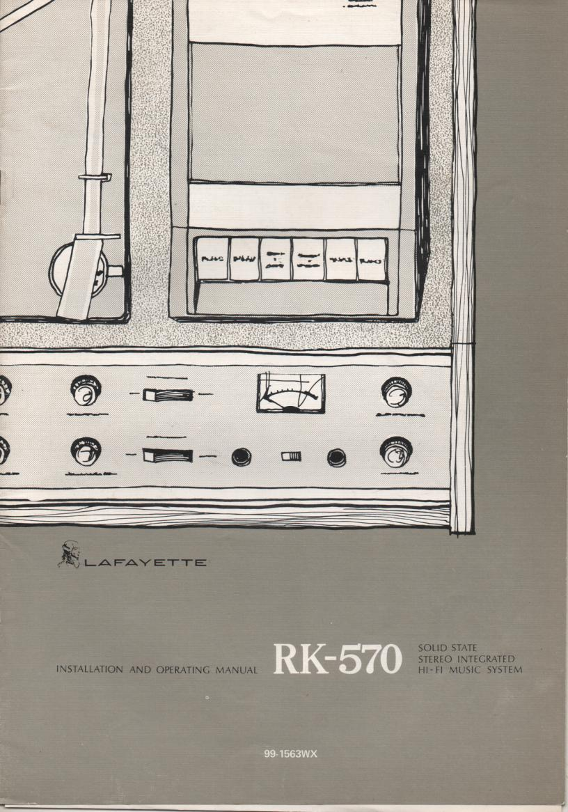 RK-570 Stereo System Service Owners Manual. Owners manual with schematic.  Stock No. 99-1563WX .