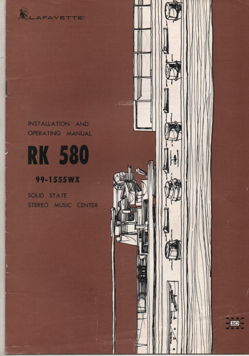 RK-580 Stereo System Owners Manual.   Stock No.99-1555WX .