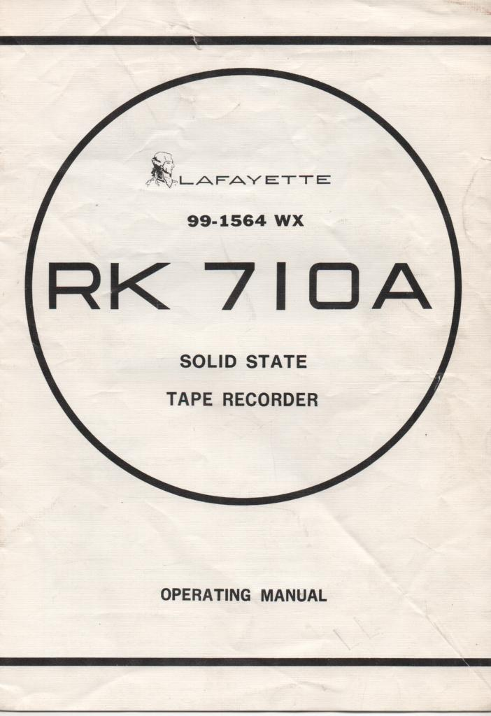 RK-710A Reel to Reel Owners Manual. With schematic and parts list.