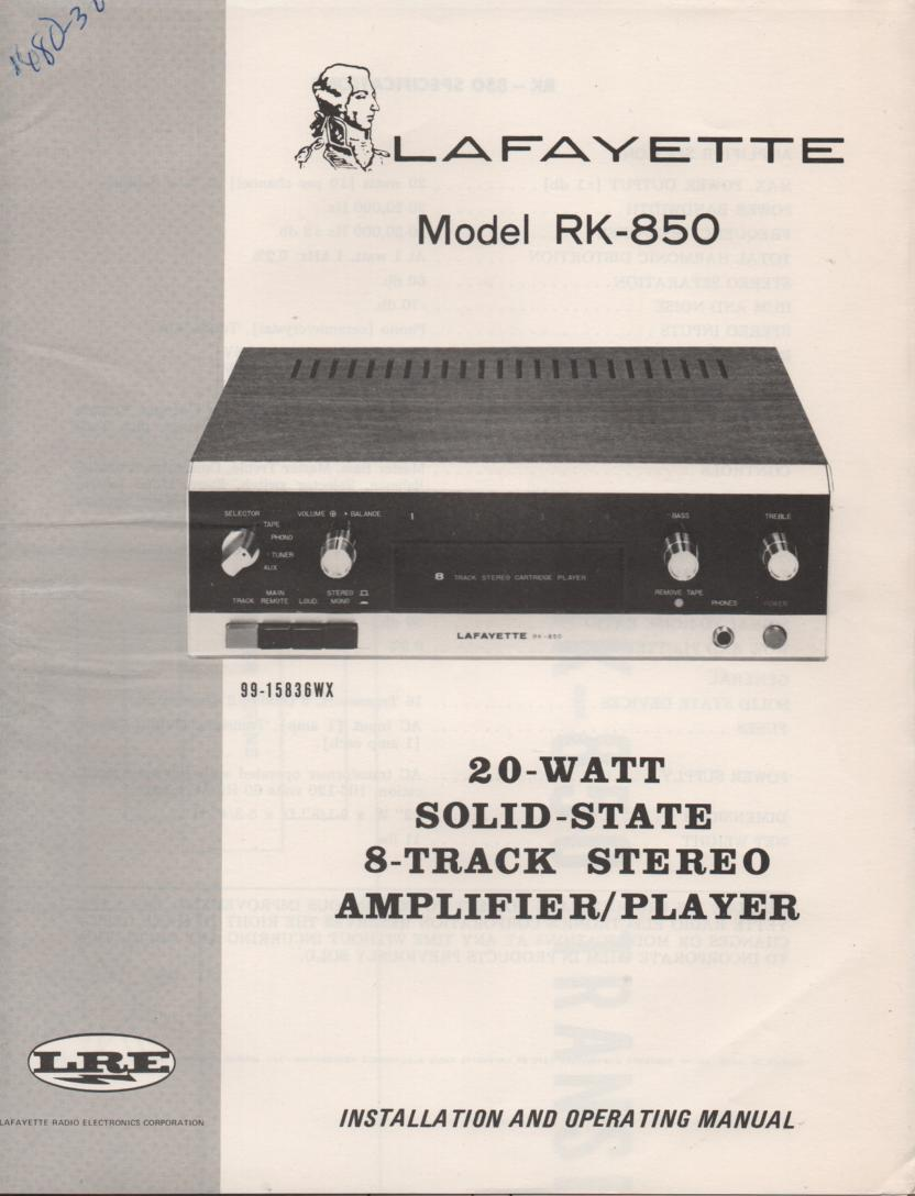 RK-850 Stereo Owners Service Manual. Owners manual with fold out schematic.  Stock No. 99-15835WX .