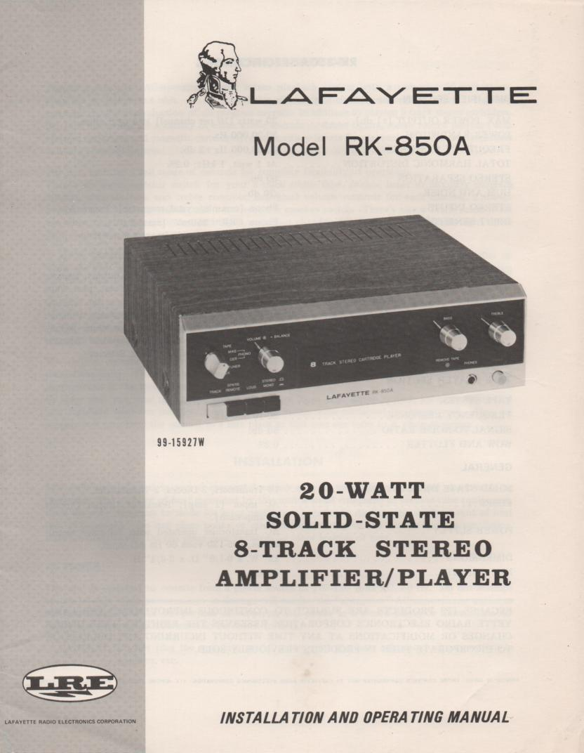 RK-850A Stereo Owners Service Manual. Owners manual with fold out schematic. Stock No. 99-15927W .