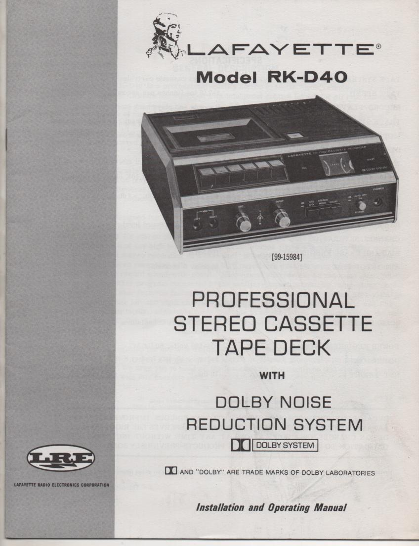RK-D40 Cassette Deck Owners Manual