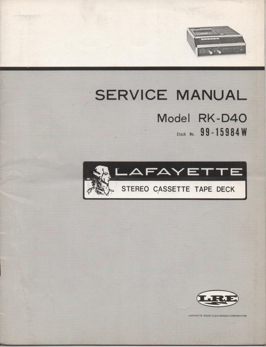 RK-D40 Cassette Deck Service Manual