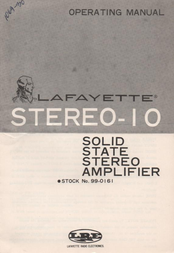 Stereo 10 Amplifier Owners Service Manual. Owners manual with schematic.  Stock No. 99-0161