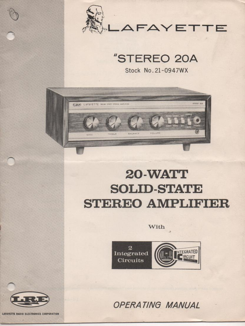 Stereo 20A Amplifier Owners Instruction Manual with Schematic