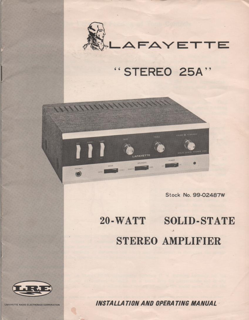 Stereo 25A Amplifier Owners Instruction Manual with Schematic