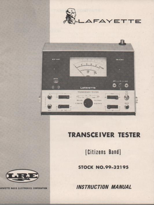 Transceiver Tester Owners Manual wwith schematic.   Stock No, 99-32195  .