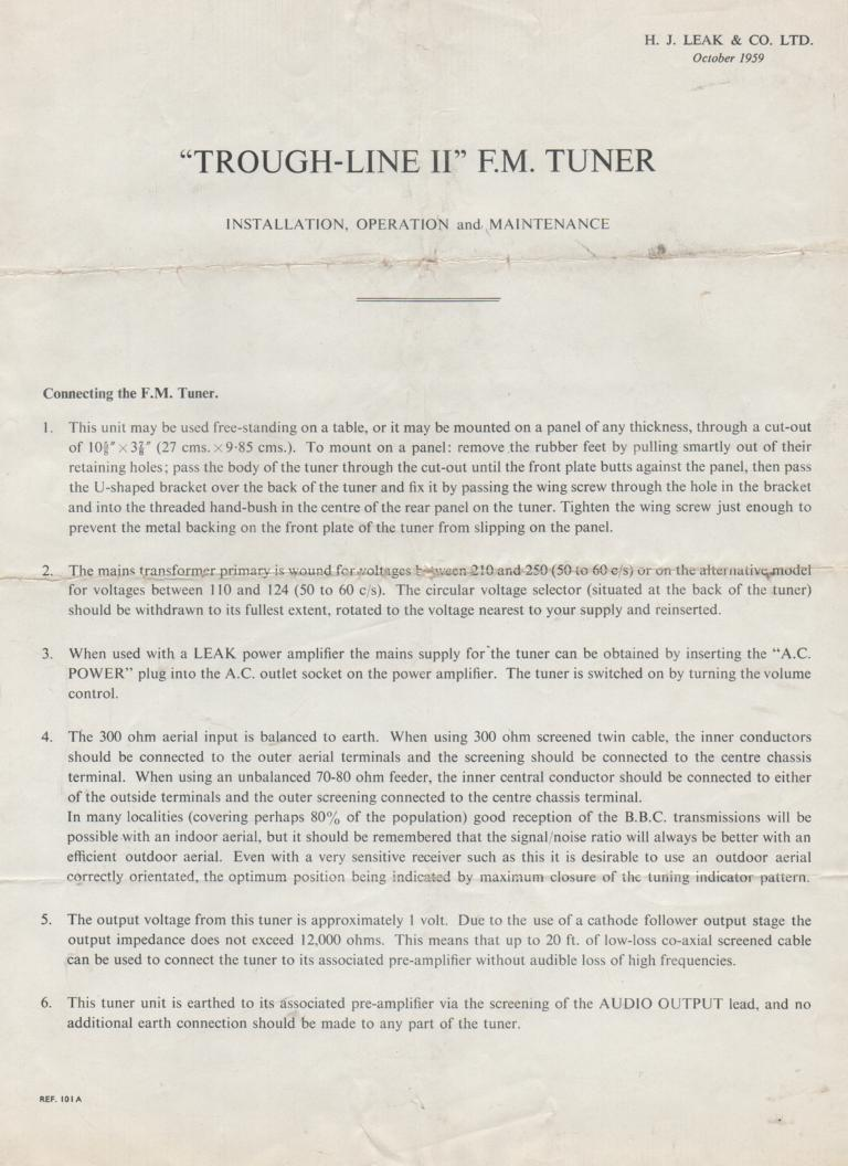 Through Line 2 II Tuner Service Manual