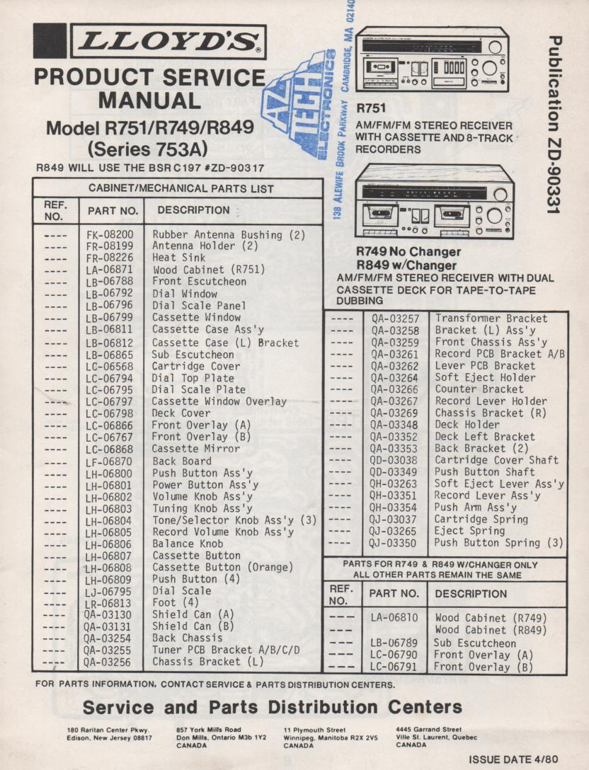 R749 R751 R849 Stereo System Service Manual