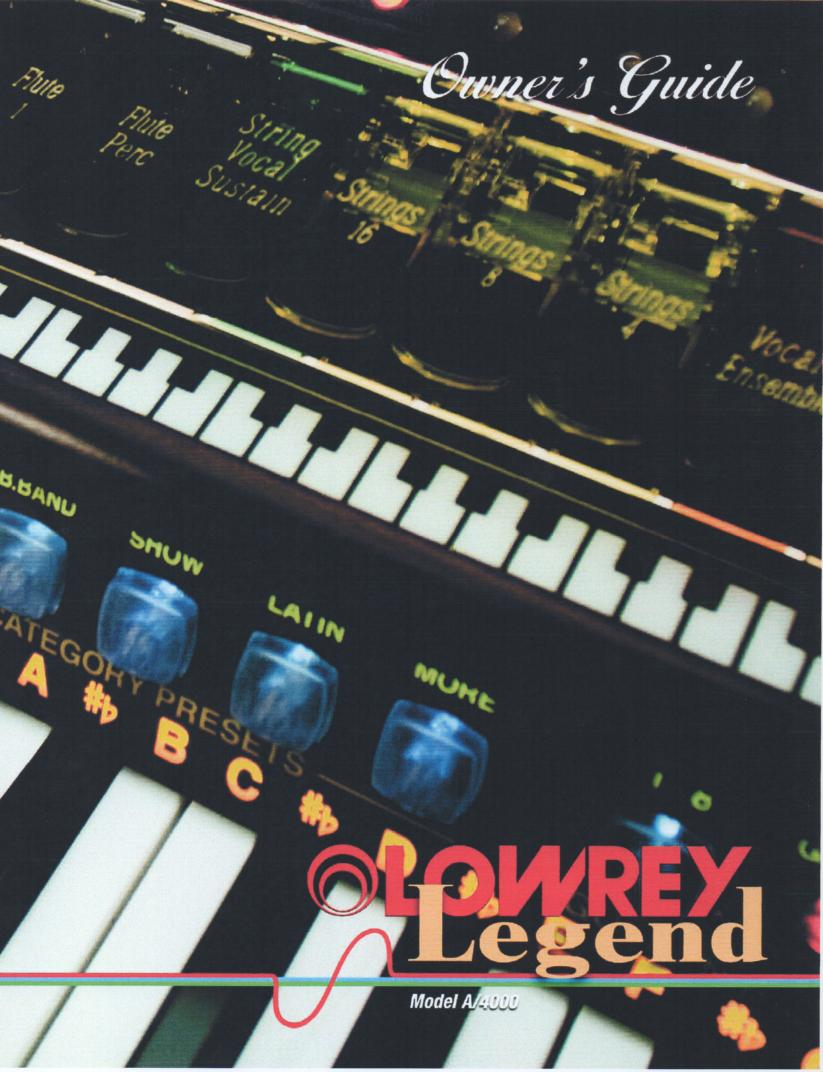 A4000 Legend Organ Owners Manual.   154 pages