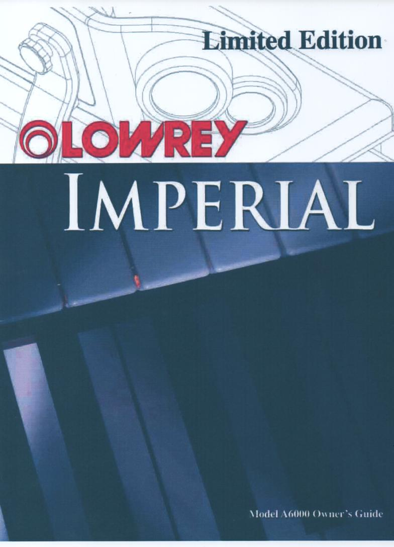 A6000 Imperial Organ Owners Manual.   173 pages
