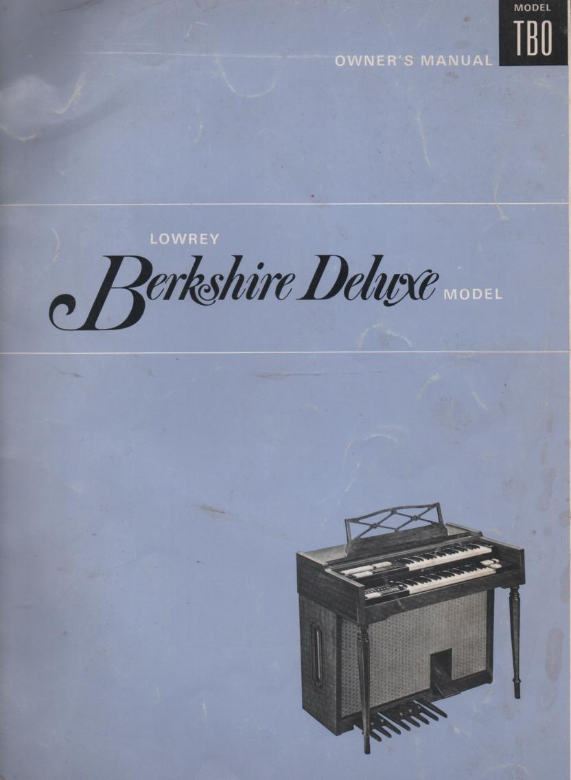 TBO Berkshire Deluxe Organ Owners Manual