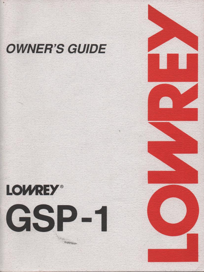 GSP-1 E-300 Organ Owners Operating Instruction Manual
