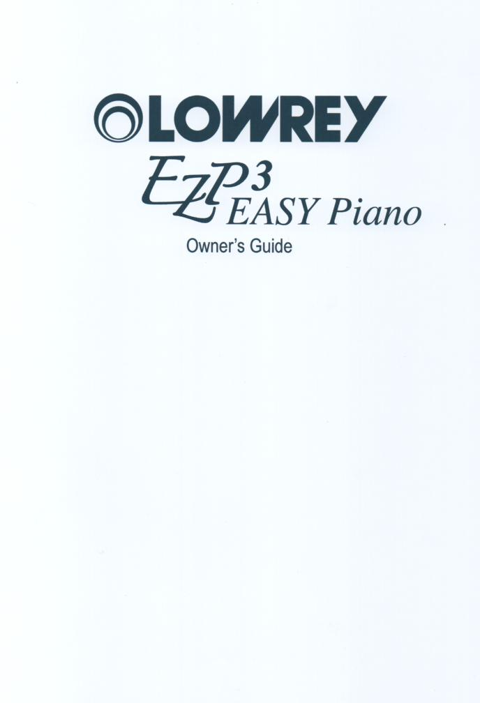 EZP3 Easy Piano Organ Owners Manual..