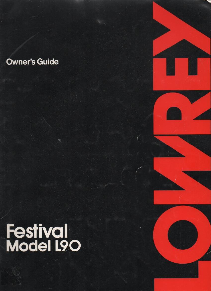 Festival L90 Organ Owners Manual