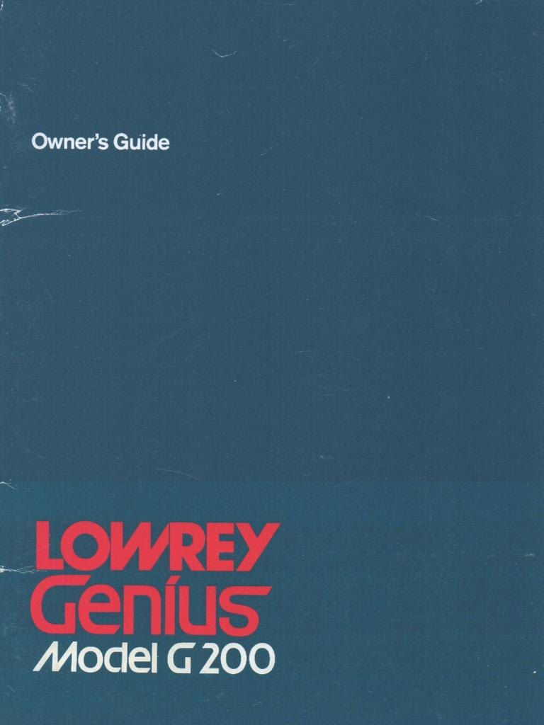 G-200 Genius Organ Owners Manual