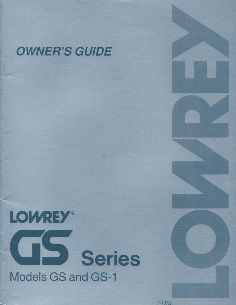 G-260 G-300 GS GS-1 GS Series Organ Owners Manual