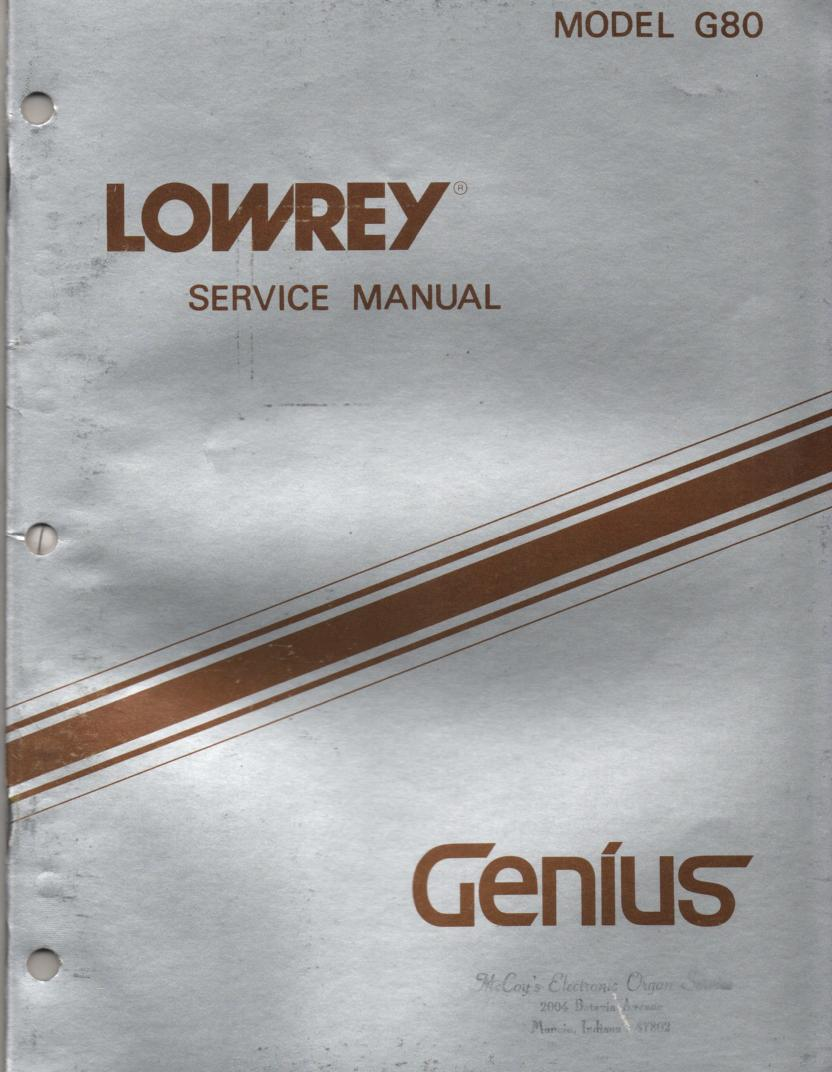 G80 Genius Organ Service Manual